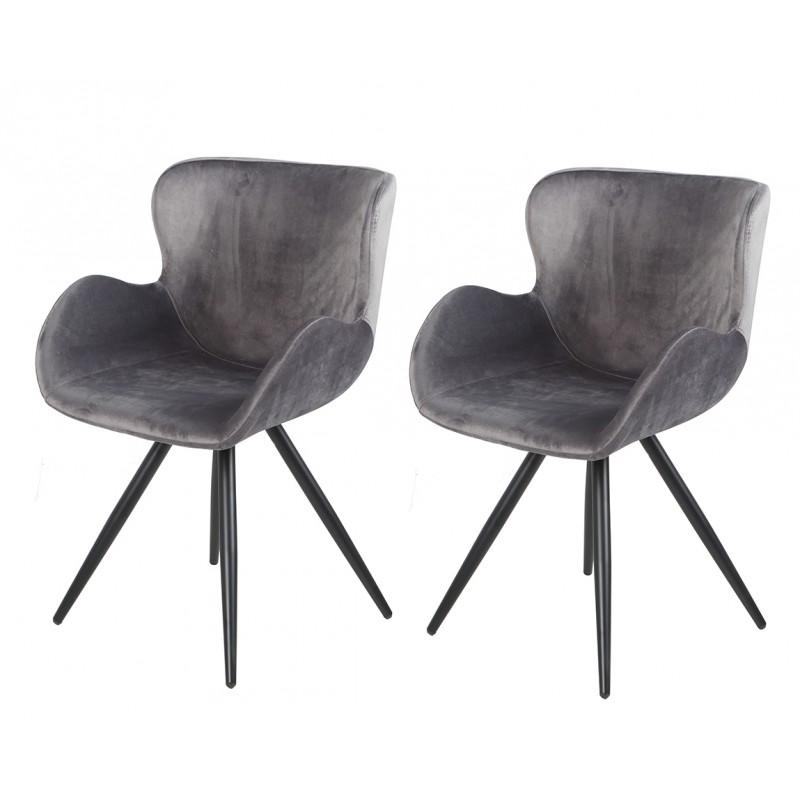 lot de 2 chaises velours gris et pieds metal noir design scandinave