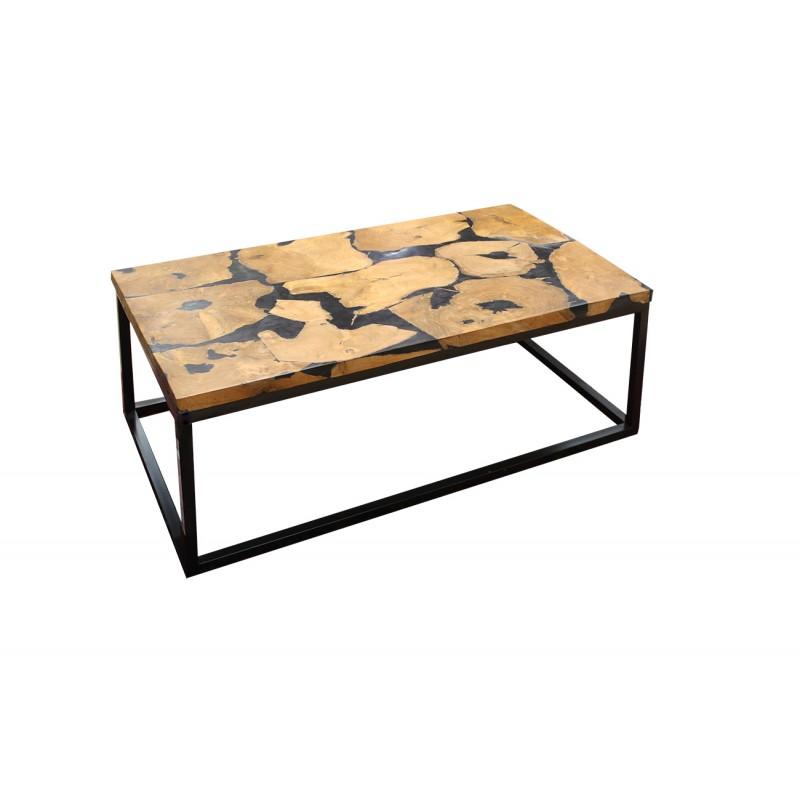 table basse rectangulaire en teck et resine noire paulette