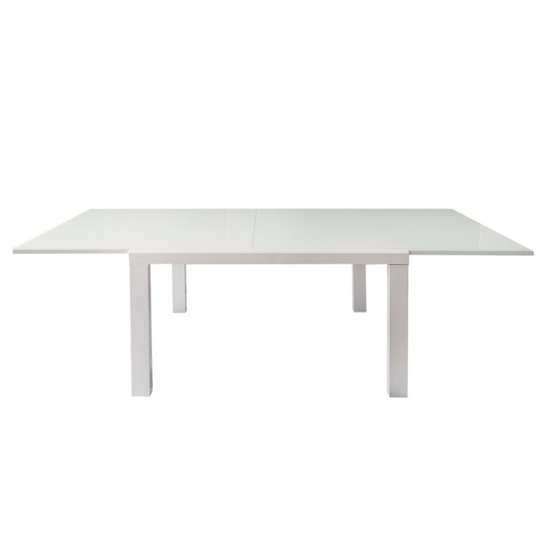 table extensible 120 a 230 cm plateau verre blanc milka