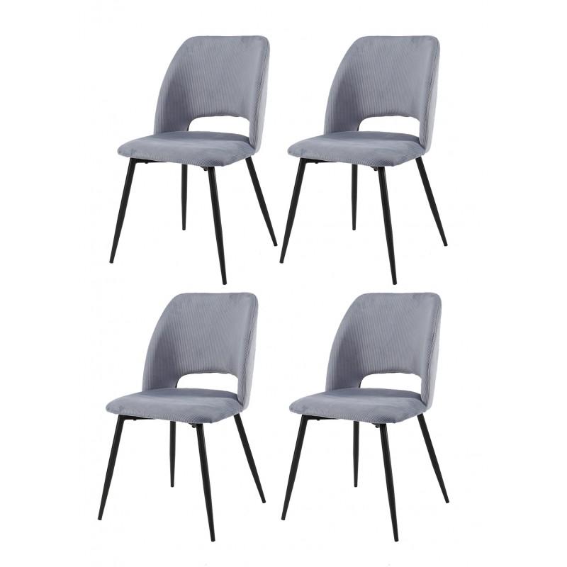 lot de 4 chaises tissu velours cotele gris pieds metal noir casimir