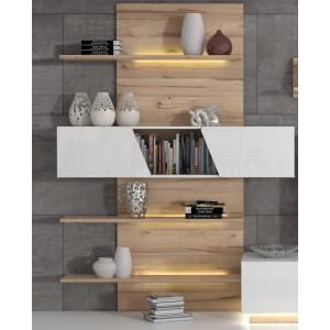 ensemble meuble tv paroi murale blanc et aspect chene clair nova