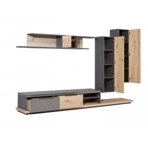 ensemble meubles tv paroi murale en bois marron et gris belair