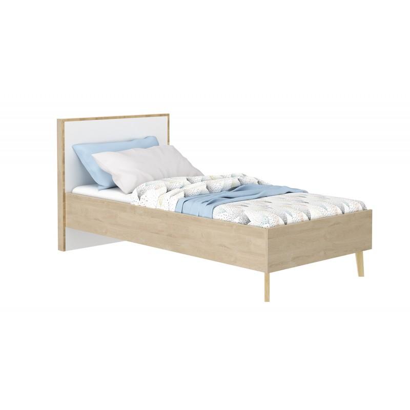 lit simple 90x190 beige et blanc sidoine