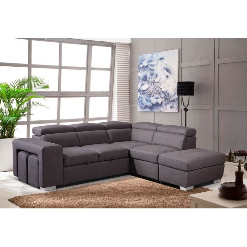 canape d angle convertible droit taupe vegas