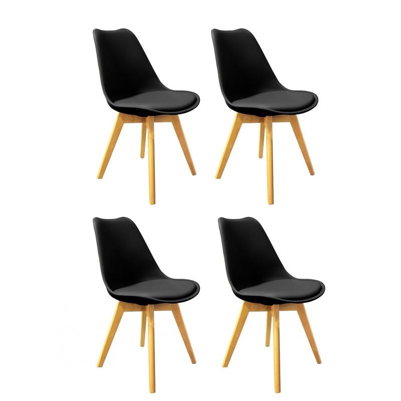 lot 4 chaises noires et bois lidy