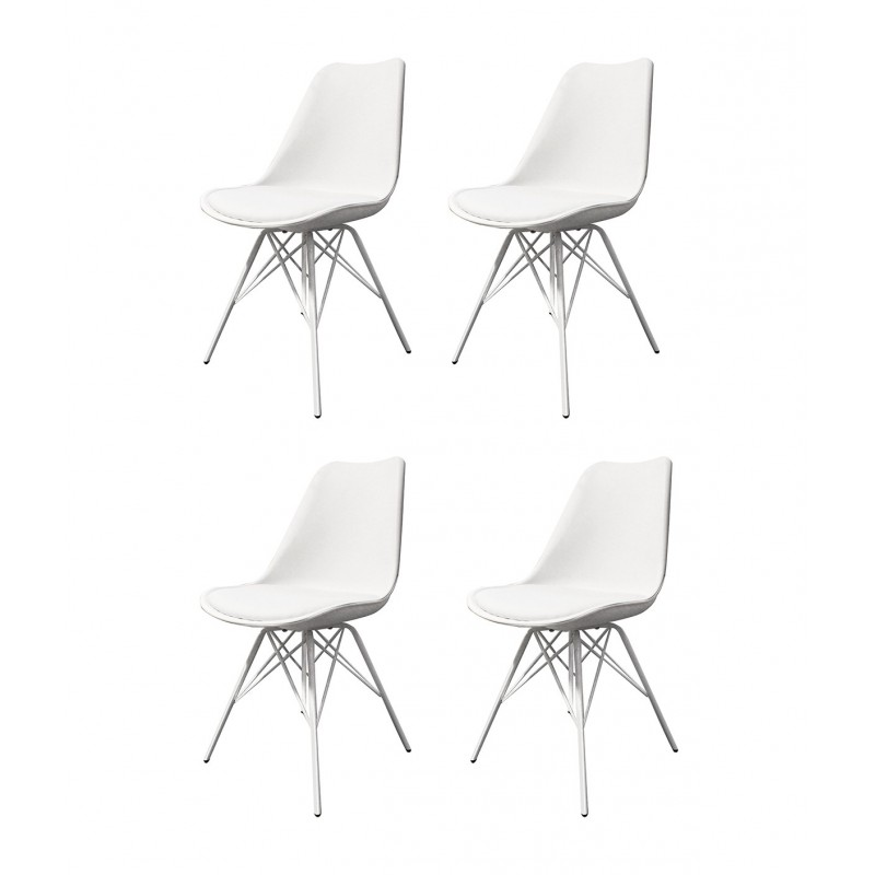 lot 4 chaises blanches et metal style scandinave tomy
