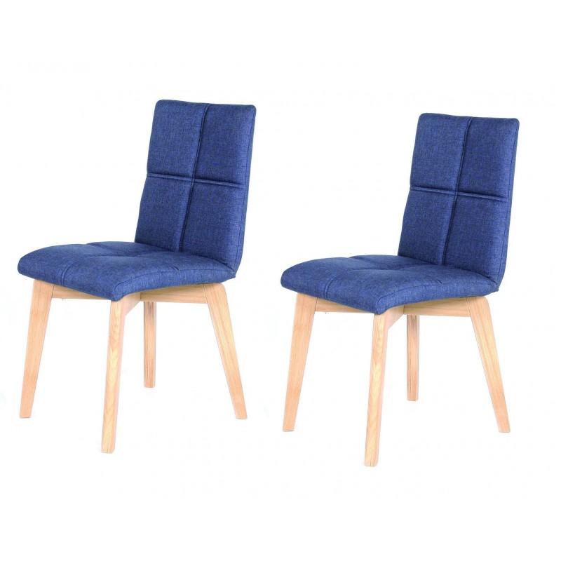 lot 2 chaises scandinave tissu bleu jean indigo lea