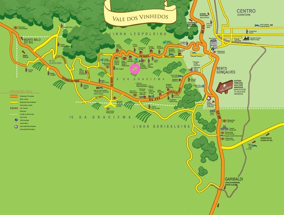 Mapa Vale dos Vinhedos - Casa Valduga