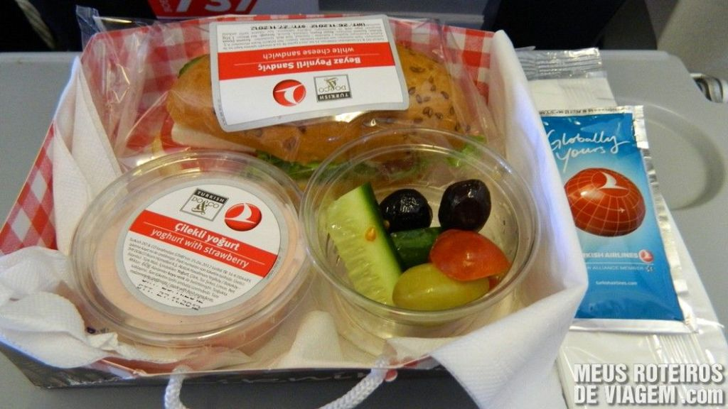 Lanche do voo doméstico da Turkish Airlines