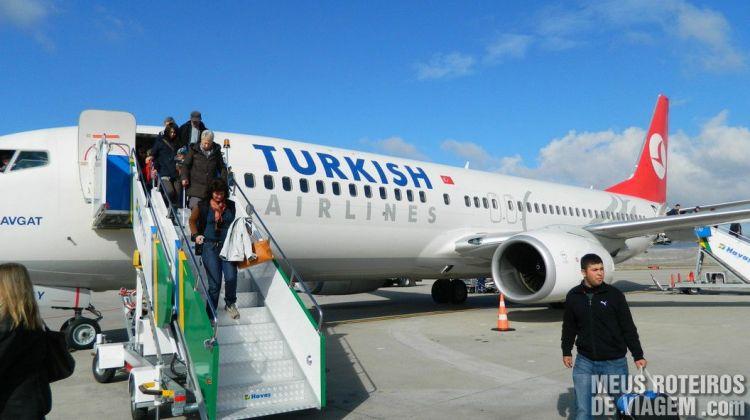 Aeronave da Turkish no Aeroporto de Nevsehir - Capadócia