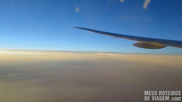 Vista da janela do avião da Turkish Airlines