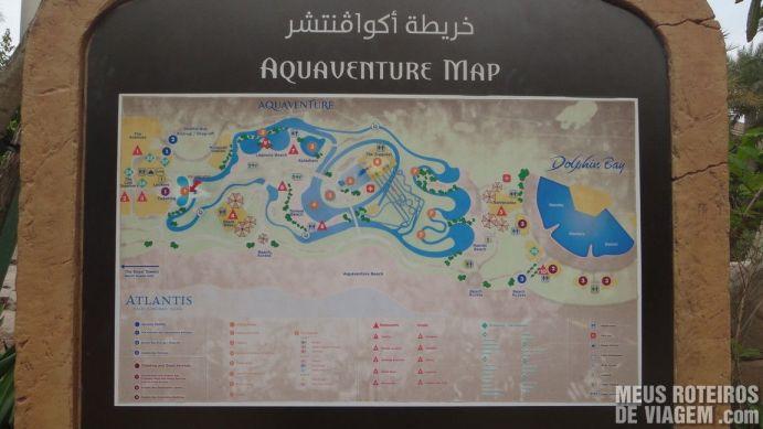 Mapa do Parque aquático Aquaventure - Atlantis The Palm, Dubai
