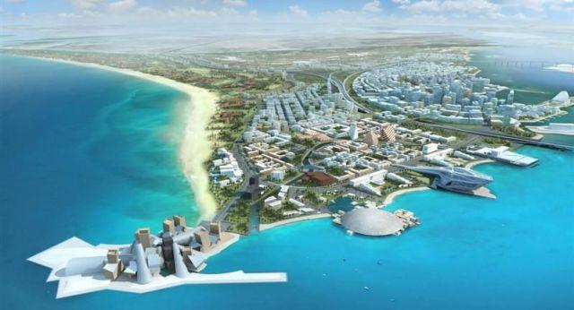 Projeto da Saadyiat Island, com os museus Guggenheim e Louvre (fonte: constructionweekonline.com)