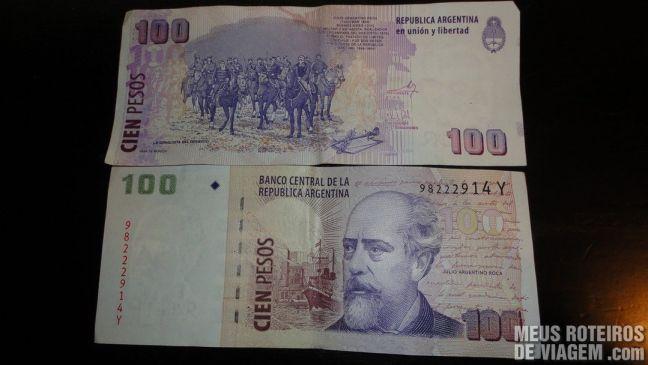 Nota de 100 pesos argentinos: frente e verso