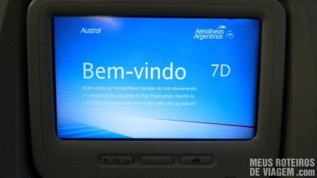 Sistema de entretenimento a bordo do Embraer 190 da Aerolineas e Austral