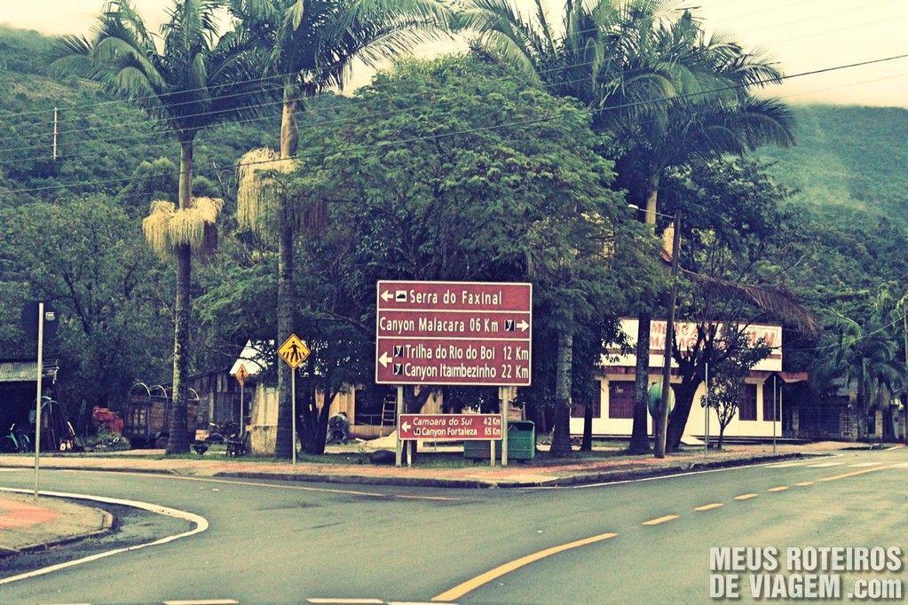 Em Praia Grande procure a placa indicativa da Serra do Faxinal