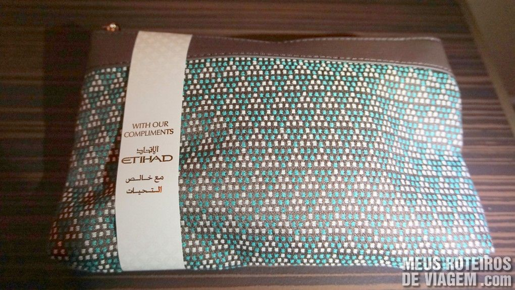 Kit de amenities na Classe executiva da Etihad Airways - Business Class