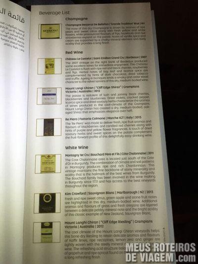 Carta de vinhos na Classe Executiva da Etihad Airwyas