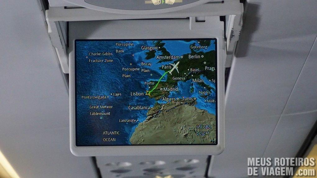 Mapa do voo entre Lisboa e Paris