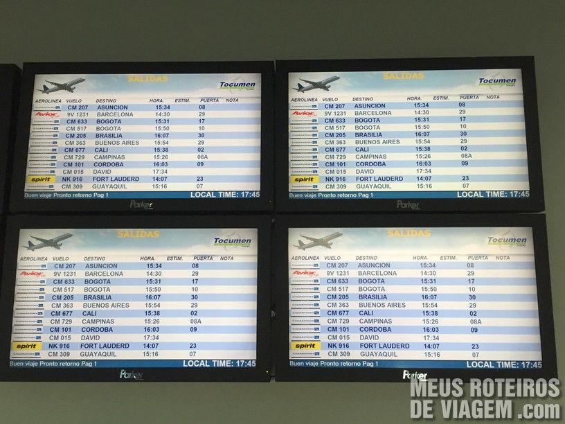 Telas de voo no Aeroporto da Cidade do Panamá