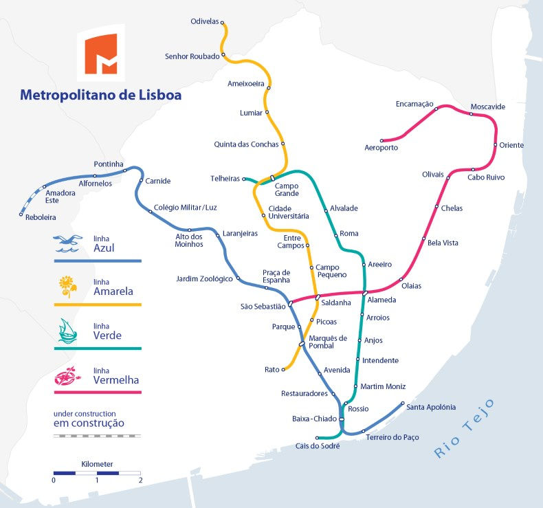 Mapa do metrô de Lisboa