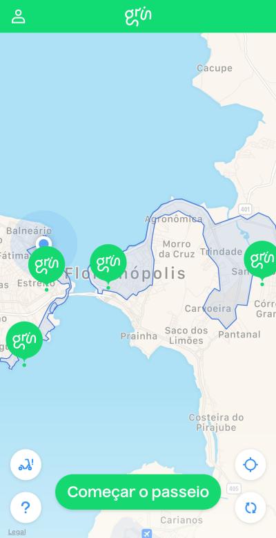 Mapa de cobertura do Grin em Floripa