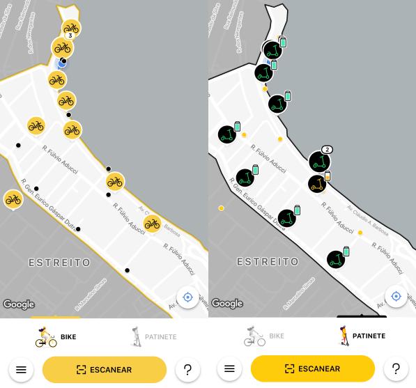 Localizçaão de bikes e patinetes no aplicativo