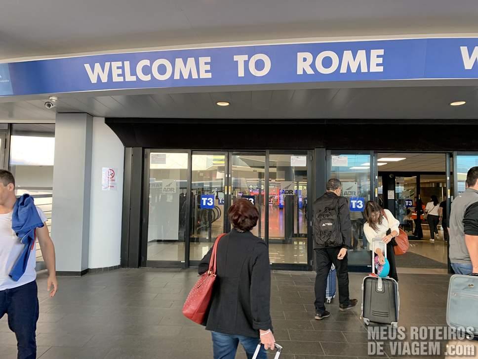 Desembarque no Aeroporto de Roma Fiumicino
