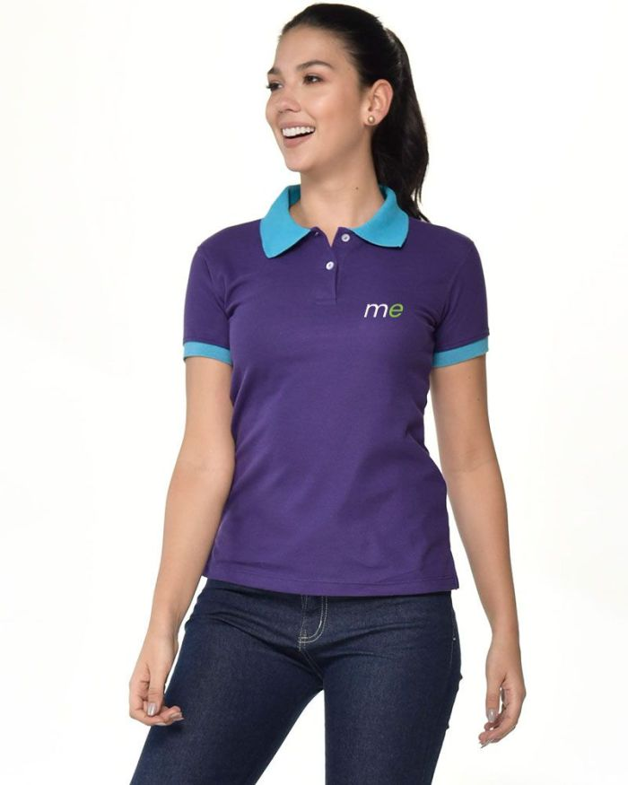 camisa tipo polo morada de mangas y cuello azul de dama p11-3