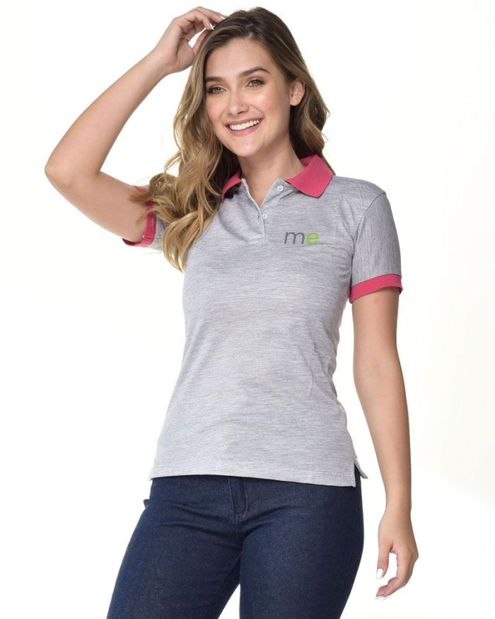 camisa tipo polo gris manga y cuello rosado de dama p15-4