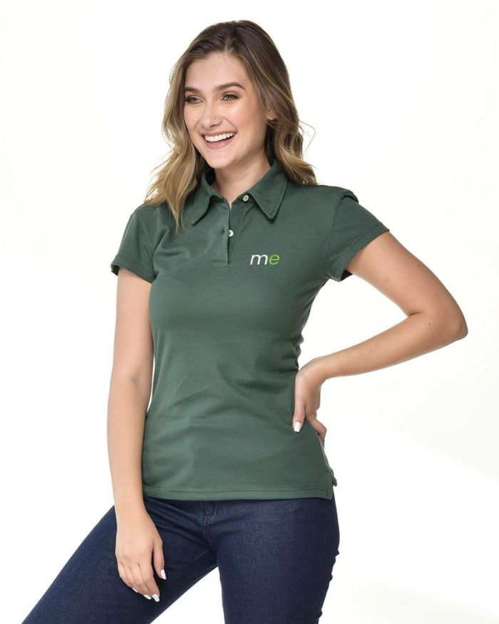 camisa tipo polo color verde militar de dama p18-4-