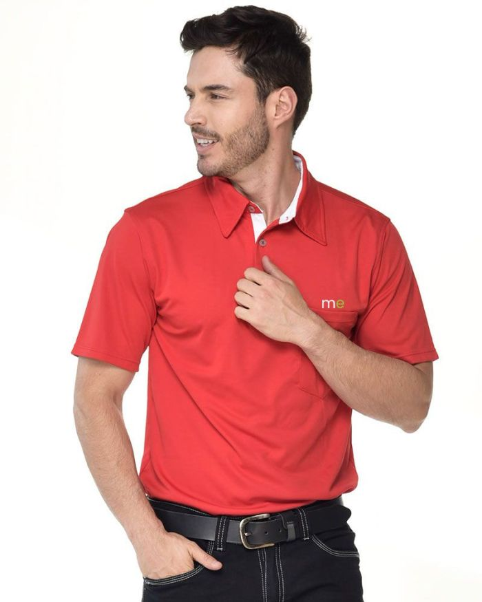 camisa tipo polo roja cuello blanco de hombre p25-2