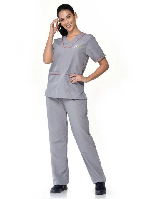 uniforme gris detalle rojos en mangas y bolsillo antifluido dama s11-1