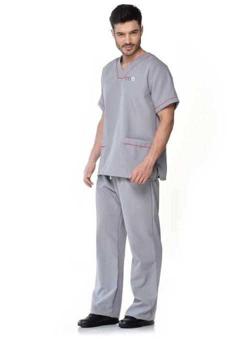 uniforme gris detalle rojo y bolsillos antifluido s12-1