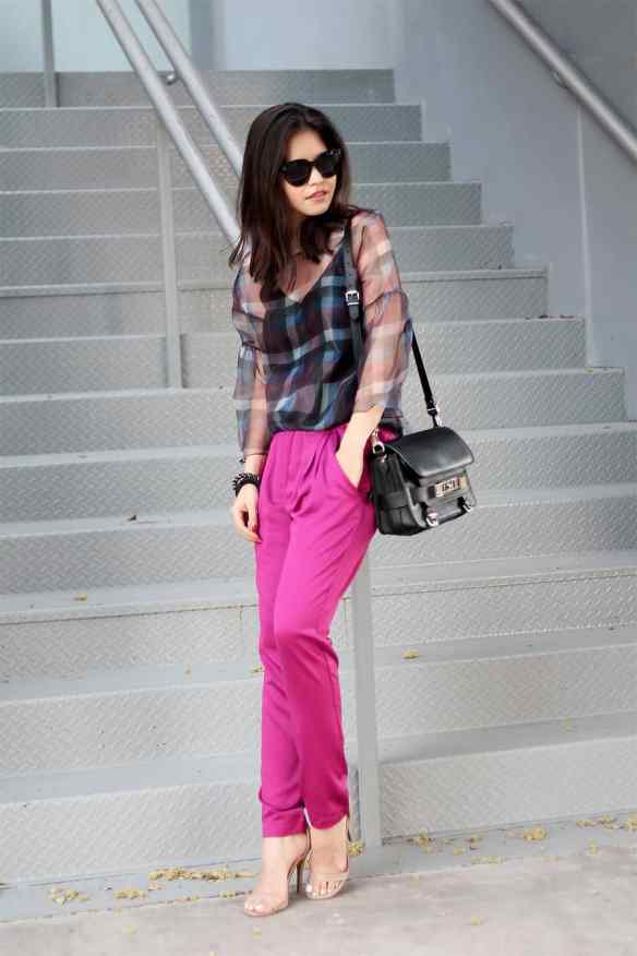 06-proenza-schouler-ps11-hot-pink-pants-spring-plaid-sheer-top-celine-audrey-sunglasses