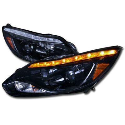 Faros De Lupa + LED DRL Negro Brillante Para Ford Focus