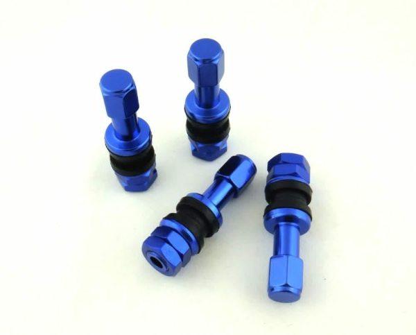 Set De 4 Valvulas De Llanta Azules De Aluminio