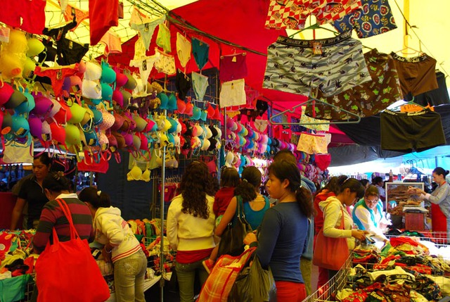Bright boxers and colorful bras in all shades are on display at the Tuesday Market in San Miguel de Allende, Mexico © John Scherber, 2013