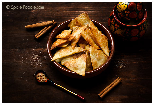 Cinnamon Sugar Chips; Cinnamon Sugar Crisps; cinnamon; sugar; bunuelos; Mexican; snack; dessert; sweet; baked; healthy; healthier; olive oil; flour tortillas; butter, vegan, vegetarian,
