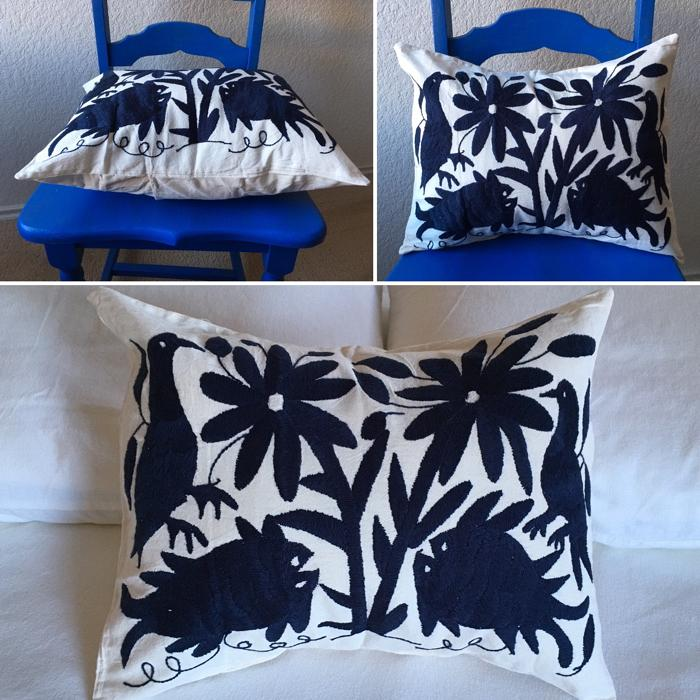 hand embroidered mexican pillow