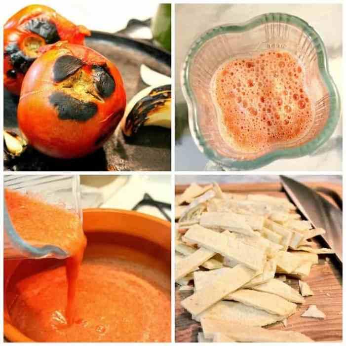 Sopa de Tortilla instrucciones paso a paso
