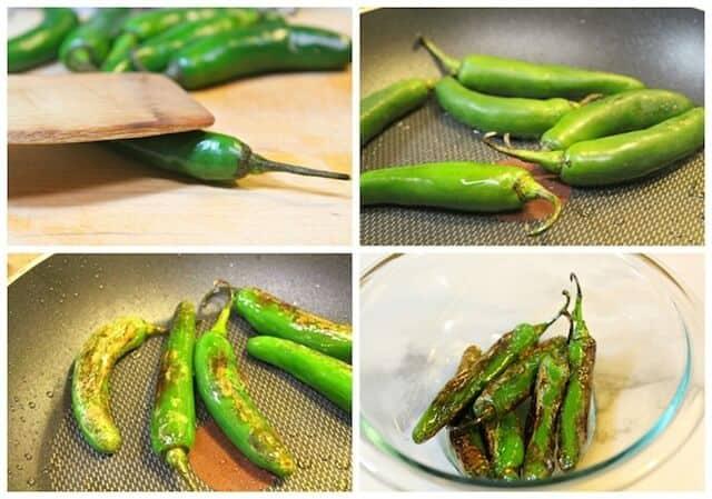 Chiles toreados, chiles asados