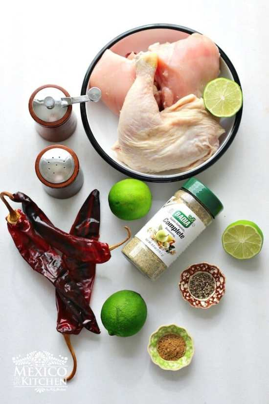 Pollo asado adobado, ingredientes necesarios
