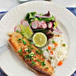 Filete de pescado al mojo de ajo – Fish Filets in garlic.