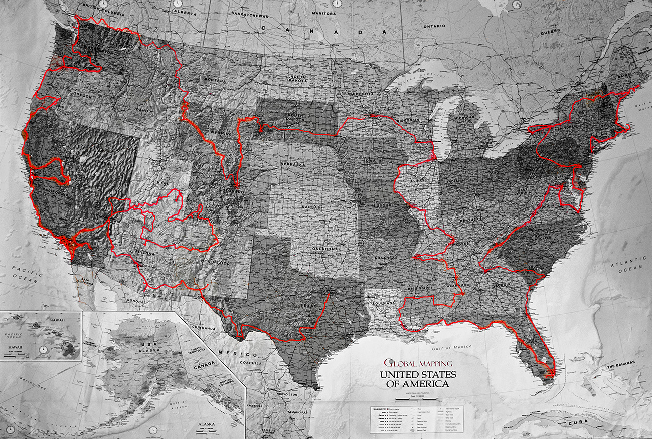 Mexico to New York  this USA road trip map shows the route of our US     USA road trip map