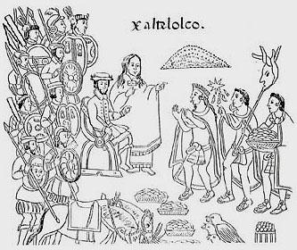 La Malinche translating for Hernan Cortes