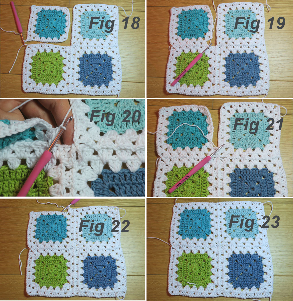 traditional granny stitch border and join for square motifs
