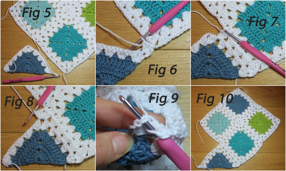 round two of half motif granny stitch join