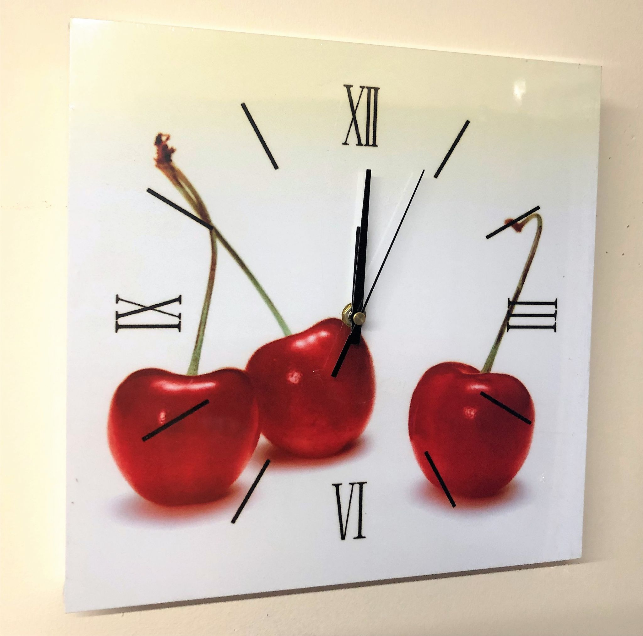 Square Kitchen Dining Room Wall Clock Cherries