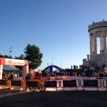 La luce del mattino sull'arrivo della Mezza Maratona